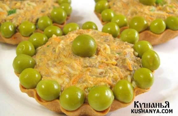 Фото Тарталетки с салатом из куриной печени