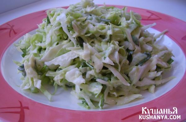 салат из капусты и огурцом с майонезом
