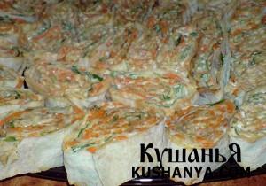 Фото Рулет из лаваша с морковкой по-корейски