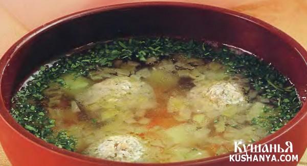 Фото Суп картофельный с рыбными фрикадельками
