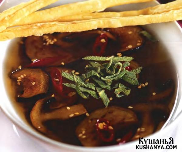Фото Суп  из баклажанов с грибами