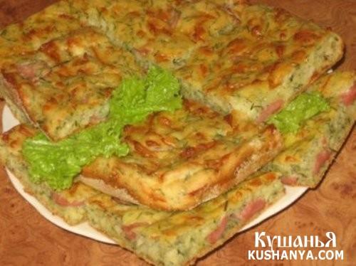Фото Пирог с колбасой, сыром и зеленью