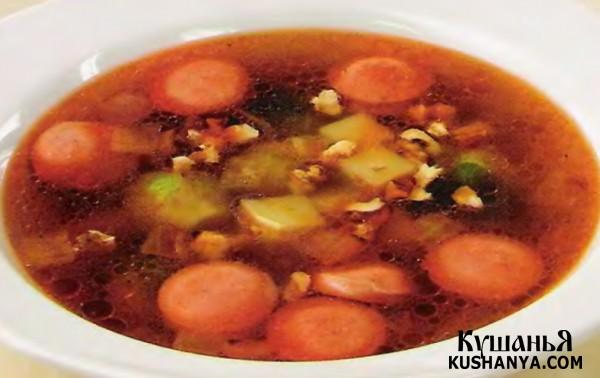 Фото Суп картофельный с сосисками (в микроволновке)