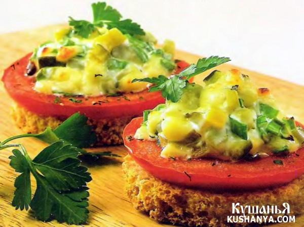 Фото Бутерброды горячие с салатом (в микроволновке)