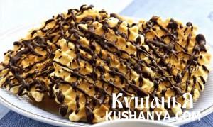 Цитрусовые вафли с шоколадным соусом фото