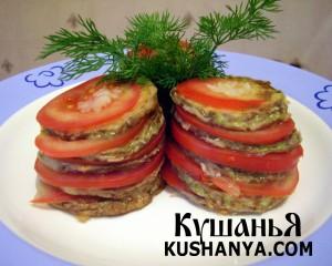 Башенки из жаренных кабачков с помидорами фото