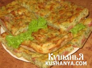 Пирог с колбасой, сыром и зеленью фото