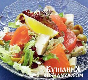 Салат из артишоков с семгой и грейпфрутом фото