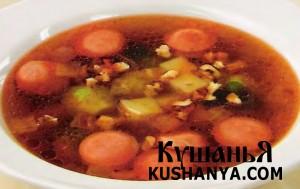 Суп картофельный с сосисками (в микроволновке) фото