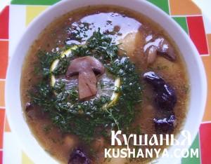 Фото Суп грибной с черносливом и изюмом