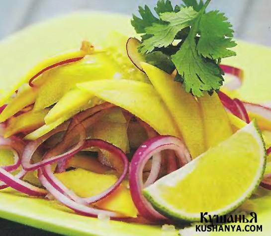 Фото Огуречный салат с манго