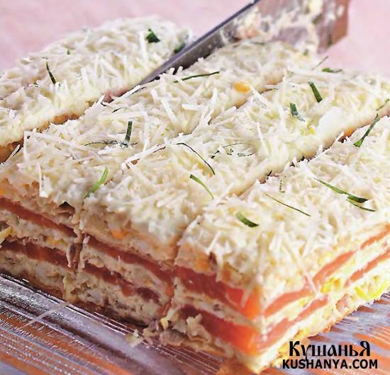 Фото Закусочный торт с семгой