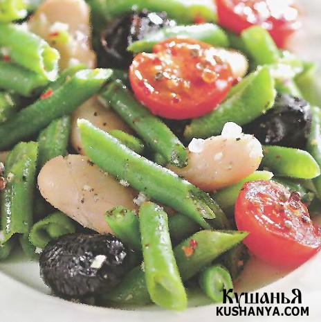 Фото Теплый фасолевый салат