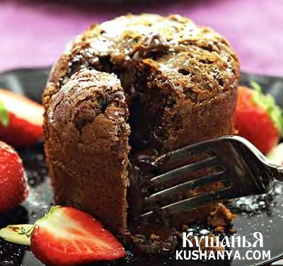 Фото Шоколадный кекс с жидким шоколадом