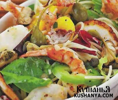 Фото Морской салат со спагетти