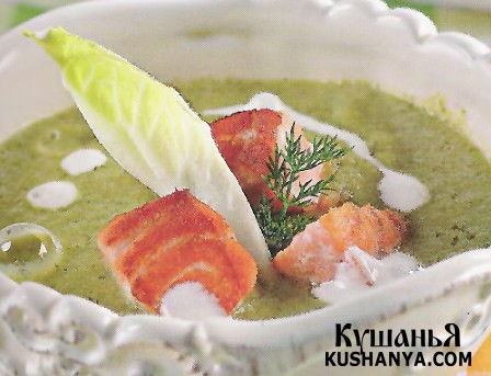 Фото Суп из листьев латука с лососем