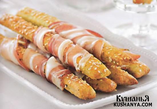 Фото Хлебные палочки с сыровяленой ветчиной