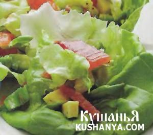 Салат с семгой из авокадо фото