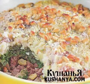 Картофельная запеканка со шпинатом и мясом фото
