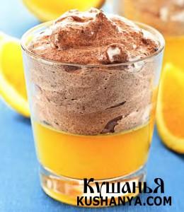 Апельсиновое желе с шоколадным муссом фото