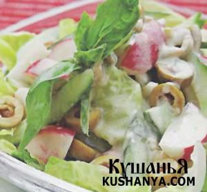 Салат с испанскими оливками фото