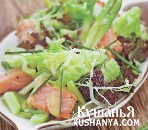 Салат из копченого лосося со спаржей фото