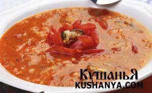 Суп томатный с рисом и мидиями фото