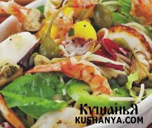 Морской салат со спагетти фото