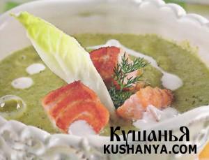 Суп из листьев латука с лососем фото