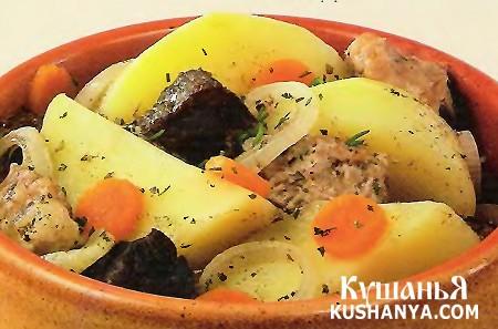 Фото Рагу мясное с картофелем в горшочках (в микроволновке)