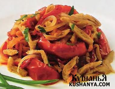 Фото Соевое мясо, тушенное с овощами (в микроволновке)