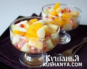 Фруктовый салат из дыни и ананаса фото