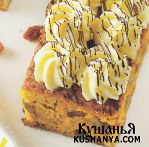 Тыквенные пирожные с шоколадно-сырным кремом фото