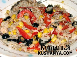 Фото Салат из риса и кукурузы