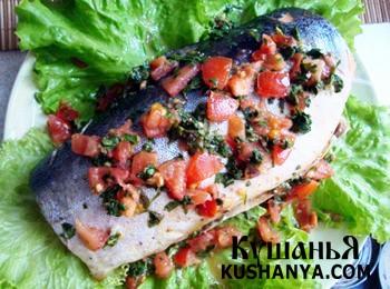 Фото Рыба запеченная с помидорами