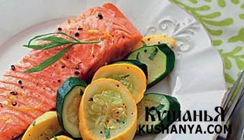 Фото Запеченный лосось с кабачками