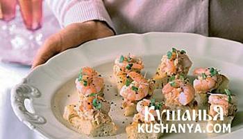 Фото Канапе с лососем и креветками