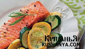 Запеченный лосось с кабачками фото