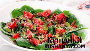 Салат из шпината, помидор и пармезана фото