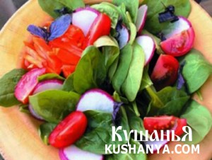 Фото Руккола с редисом и помидорами
