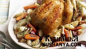 Запеченная курица с сезонными овощами фото