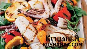 Кальмары-гриль с болгарским перцем фото