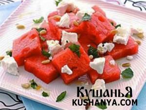 Салат с арбузом, фетой и мятой фото