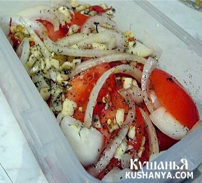 Фото Закуска из маринованных помидоров