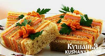 Фото Полосатый бутерброд с сыром и колбасой