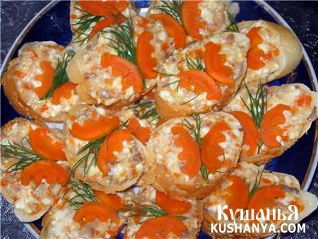 Фото Бутерброды с сельдью и морковью