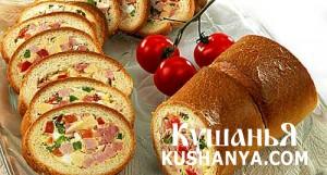 Бутерброд-рулет с мясом и сыром фото
