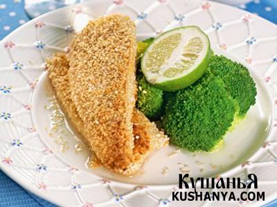 Фото Жареный в кунжуте сибас с брокколи