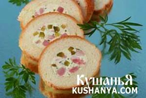 Бутерброд-рулет с ветчиной фото