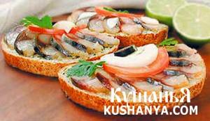 Бутерброд со скумбрией холодного копчения фото